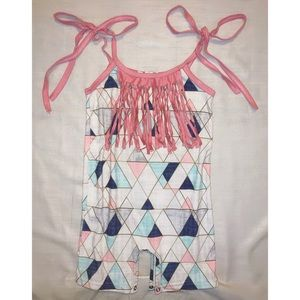 Toddler Girl Geometric Pink Fringe Romper
